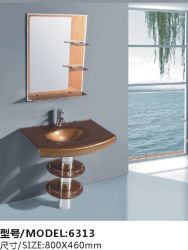 Lavage du bassin de verre trempé moderne avec miroir, de bonne qualité à bas prix