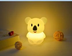 Cartoon LED Color Bedroom Childrens para criança silicone Night Light