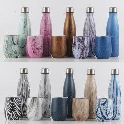 2020 Motif de l'impression couleur personnalisable exquis Fiole à vide en acier inoxydable le bureau de liaison bouteille de vin et la forme d'oeufs Cup Gift Set
