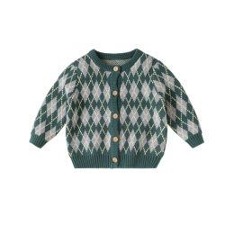 コントラストカラーの Rhombus Jacquard Boys/Girls' Knitted Cardigan Crewneck Long Sleeve セーター