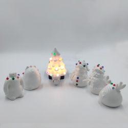 세라믹 중국 뼈 연합할 수 있는 사기그릇 크리스마스 작은 조상 크리스마스 나무 눈사람 산타클로스 밤 빛