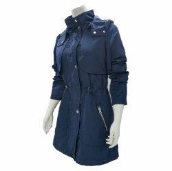 Coton/polyester long manteau de poussière Women's Windproof enduire