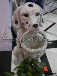 Giardino Dog di Stone del granito con Basket Animal Sculpture