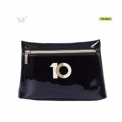 Impreso de suave cuero original negro bolsa de cosméticos bolsas de cosméticos
