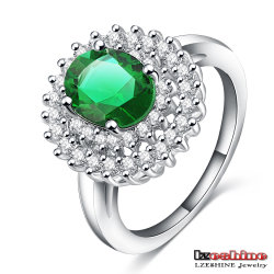 Silver Plated Green Stone Jewellery Ring (CRI0132-B)