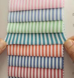T/C polyester coton T-shirt à rayures Blouses tissu stretch Lycra Spandex
