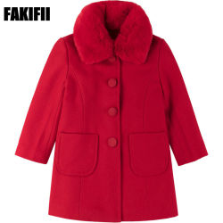 2019人のOEM/ODMのブランドの赤ん坊の衣類の子供の衣服の冬の女の子の赤いウールのコートの卸売の子供の摩耗