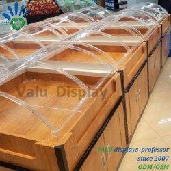 Supermercado alimentos Caja de acrílico acrílico de contenedores de alimentos a granel vitrina