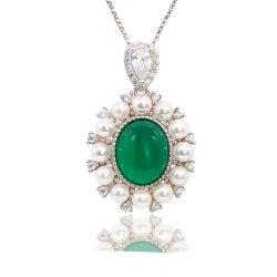 Hot Sale Bijoux Bijoux en argent Sterling 925 pendentifs avec zircone cubique Chrysoprase Colliers de Perles de Shell