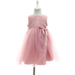 Parti d'hiver sans manches Tulle Sequined Frock enfoncé ruban robe robes de Bell pour les jeunes filles