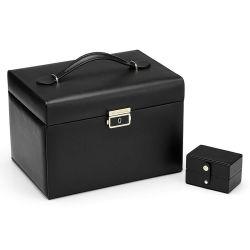 Haut de gamme PU noir Cuir Métal serrure à clé Boîte cadeau bijoux rectangulaire