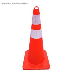 """Tutto il cono riflettente rosso di traffico del PVC 28 """" 4lbs con il cerchio superiore"""