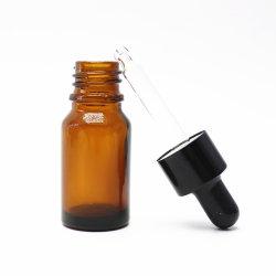 OEM negro de 10ml botella escarchada botella rellenable de perfumes de aceite de hierba con gotero plástico