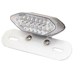Trasero de plaza de la motocicleta de la unidad de la luz de freno LED - cromo/lente transparente