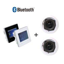 2 チャネル Mini 25W Bluetooth PA ホームオーディオミュージックシステム 壁面取り付けアンプ、 2 個の PCS 5 インチ同軸天井スピーカー付き リモートコントロール