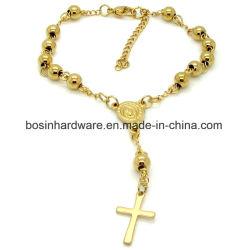 GoldEdelstahl-Frauen-Rosenbeet-Kugel-Kettenarmband