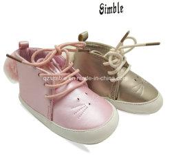 Peu d'enfants Bottes de chaussures à semelle souple de la dentelle et en peluche balle