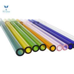 Kundenspezifischer farbiger gerader Glasgefäß-Borosilicat-Glas-Trinkhalm