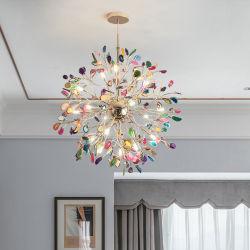LED Accueil Décoratifs Modernes Caisson suspendu intérieur, poignée de commande d'éclairage Lampe, lumière au plafond, Crystal Agate Lustre