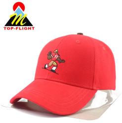 Il colore rosso su ordinazione all'ingrosso del ricamo mette in mostra i cappelli del cotone e ricopre il berretto da baseball