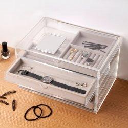 Acrylschmucksache-Ablagekasten-Schrank mit dem Samt-Tellersegment inner
