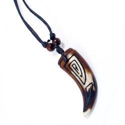 Vintage Cheap cordon réglable Poignée de commande de l'os de vache de résine Collier Tribal pour les hommes