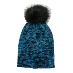Lady Winter Warm Fashion قبعة صبغ الفضاء مع Faux Fur Pompom