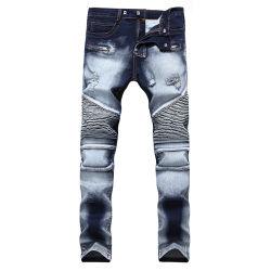 熱い方法人の印刷されたデザイン偶然のバイカーのバッジはデニムのズボンのジーンズにブラシをかけた