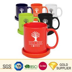 Nueva promoción de la Porcelana china Logotipo personalizado resistente impresas por sublimación de café, té de esmalte de porcelana taza de sopa de cerveza de gres cerámico de la placa de viajes de color taza con plato