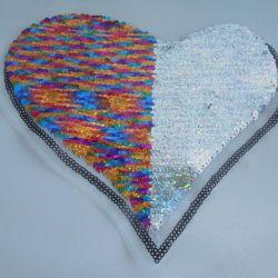 La moda de diseño personalizado de corazón Emoji dobles caras Sequin Parche para Sweater
