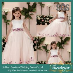 White engraçado vestido de menina de flores coloridas SGS Coret Menina vestido Pageant (GDNY226)