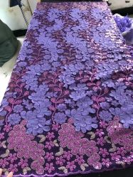 자주색 3D 꽃 자수 Sequins 직물, 신부 직물, 아프리카 직물, 면 직물