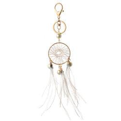 Dream Catcher Poignée de commande de boucle de jeu de clés de Bijoux Perles de Don Rose Vert Dreamcatcher Feather carillon éolien pour cadeau de trousseau
