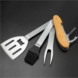 [بورتبل] 5 في 1 تفكيك مشواة أداة متعدّد مع مقبض خشبيّة [بّق] قابل للفصل يشوي أداة [ستينلسّ ستيل] يرصّ يشوي يطبخ أدوات [إسغ15694]