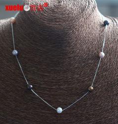 Mode bijoux perles rondes de 7 mm d'eau douce avec Chaîne en argent collier (E130154)