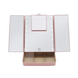 مرآة ماكياج مطورة فاتنور مع منظم 16 كمبيوتر LED خفيف