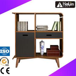 Домашняя мебель из дерева грецкого ореха Книжный шкаф с выдвижной ящик