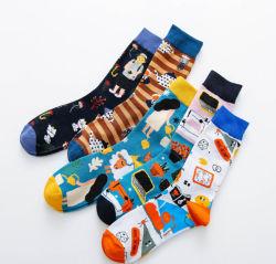 Stock listo de la moda al por mayor de hombres vestidos de algodón calcetines