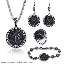 Vintage de piedra redonda negra Collar Colgante para el conjunto de joyas de la mujer