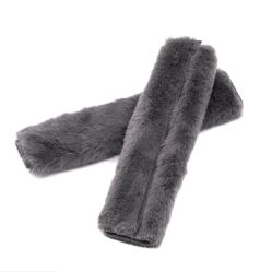 2PCS/Definir Faux suave de peles de coelho Cinto de Segurança Automóvel Proteger almofada de ombro para atendimento automático