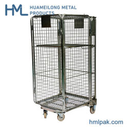 Supermercado europeu de segurança dobrável galvanizado para o aninhamento de malha metálica Roll cage contentor