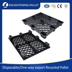1200X1000 d'une façon d'exportation/expédition léger noir/Light Duty Four Way Entrée 9 Runner/Leg Nestable PEHD recyclé pour l'exportation de palettes en plastique jetables