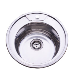 Forme ronde brillant de haute qualité Lavabo évier de cuisine en acier inoxydable 304
