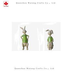 La resina de color verde de la familia de conejos de Pascua la decoración del hogar