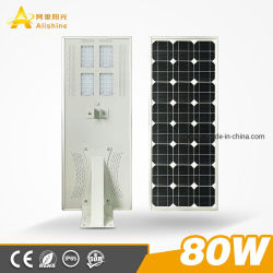 Hoogwaardige duurzame buitenbehuizing IP65 12 V 24 V 30 W 60 W 80 W. 100 W geïntegreerde LED-straatverlichting op zonne-energie