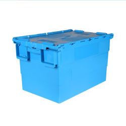 Nuovo materiale coperchio fissato in plastica impilabile e resistente Spostamento all'ingrosso di scatole di tote