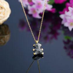 Gebildet in den China-Form-Schmucksache-Zubehör für Männer und Frauen, grenzüberschreitend Heiß-VerkaufenEdelstahl-Schmucksachen, kreative Schlamm-Diamant-Bären-Halskette