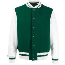 Мужчин моды зеленый индивидуальные бомбардировщик Varsity куртка бейсбола куртка с втулки из натуральной кожи