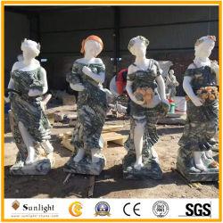 Heiße verkaufenkundenspezifische Vierjahreszeitenweiße/grüne Sonnenuntergang-Rosa-Marmor-Steindame Statues