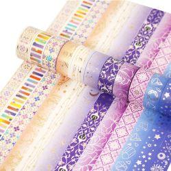 Золотая фольга защитной ленты декоративных растений клейкой ленты наклейка дневник фотоальбома канцелярские 12pcsset Cute Galaxy лента Washi Каваий